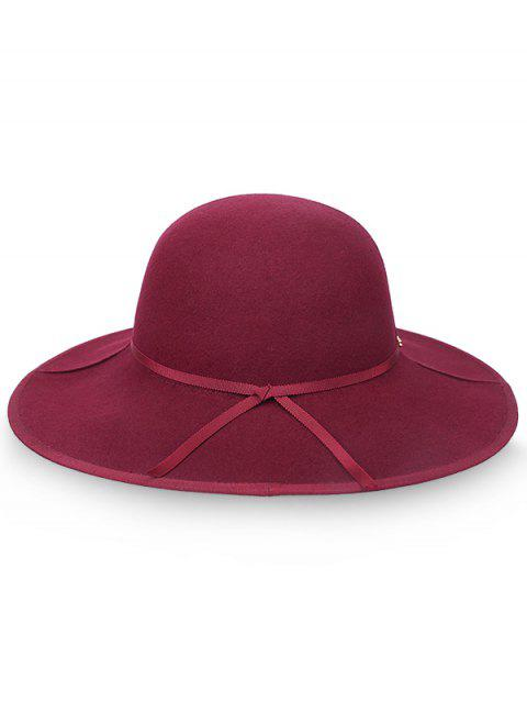 buy Oversized Brim Bowknot Wool Fedora Hat - RED WINE  Mobile