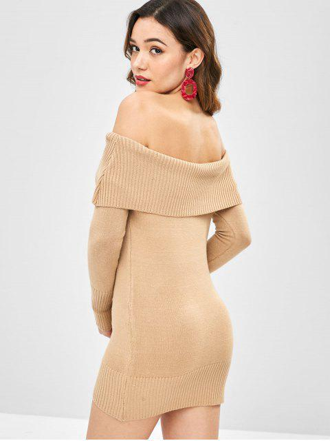 women Off Shoulder Foldover Bodycon Dress - CAMEL BROWN ONE SIZE Mobile