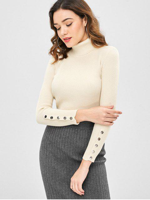 women's Turtleneck Ribbed Buttoned Sweater - APRICOT ONE SIZE Mobile