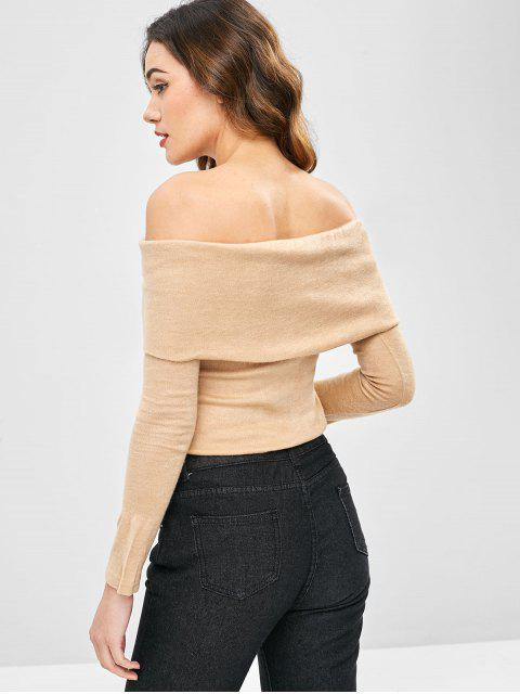 lady Overlay Off Shoulder Knitwear - TAN XL Mobile