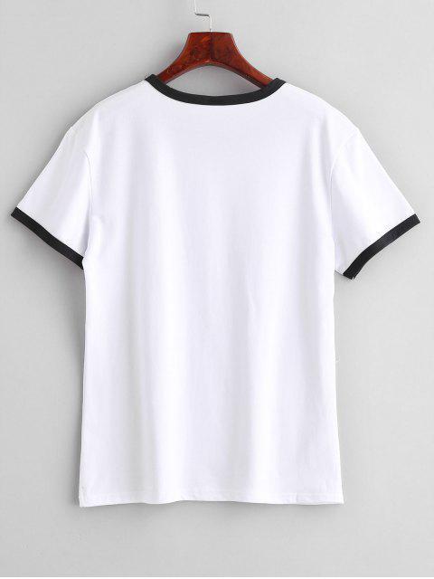 hot Short Sleeve Graphic Jersey Ringer T-Shirt - WHITE XL Mobile