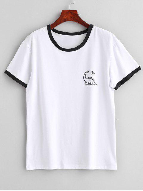 T-shirt Jersey Graphique à Manches Courtes - Blanc M Mobile