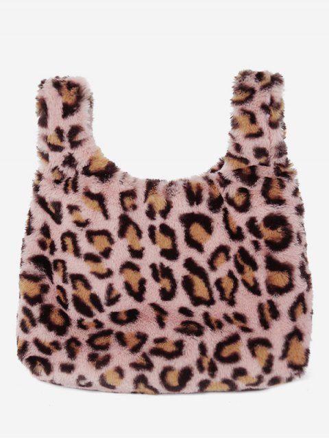 hot Leopard Design Artificial Fluffy Handbag - PINK  Mobile