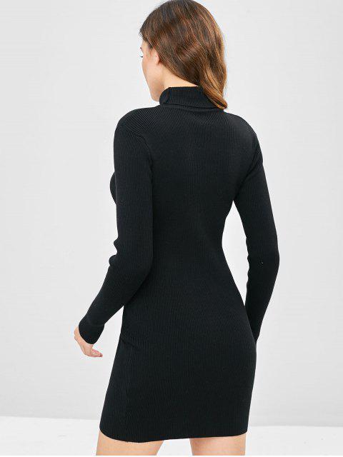 Mini-Robe Pull Moulante Côtelée à Col Haut - Noir Taille Unique Mobile