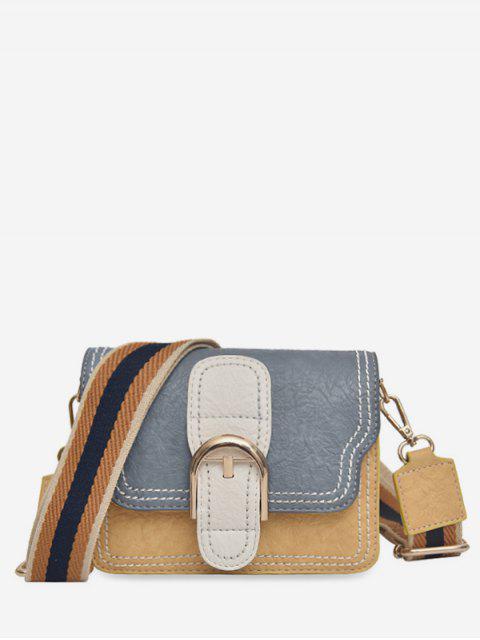 new Striped Shoulder Tape Design Cover Crossbody Bag - SLATE BLUE  Mobile