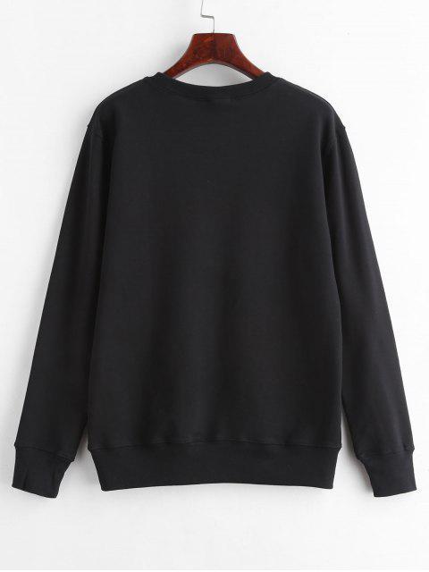 sale Kitten Print Graphic Sweatshirt - BLACK M Mobile