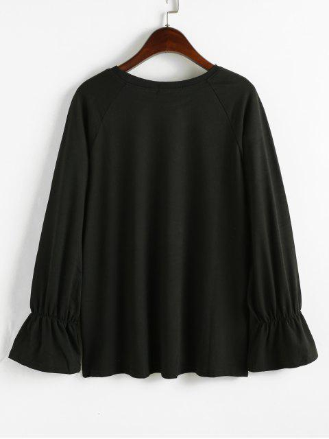 new Floral Embroidered Raglan Sleeves Sweatshirt - BLACK ONE SIZE Mobile