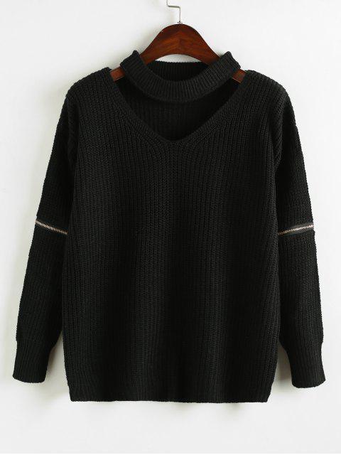 women Zipper Embellished Plain Keyhole Sweater - BLACK ONE SIZE Mobile