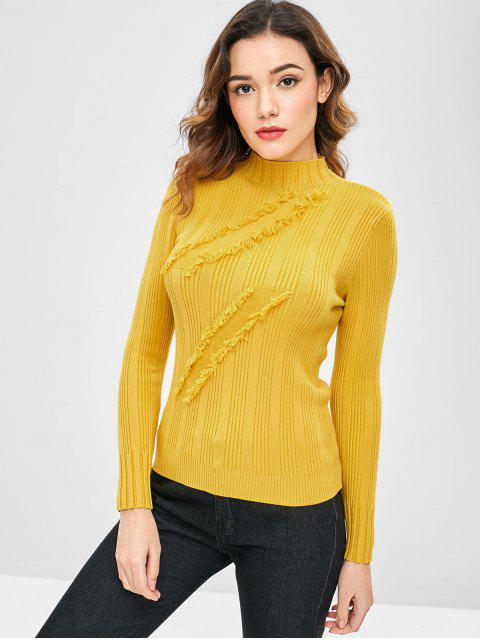 fashion Fringed Mock Neck Sweater - YELLOW ONE SIZE Mobile