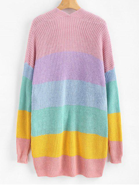 ladies Pockets Striped Open Front Cardigan - MULTI L Mobile