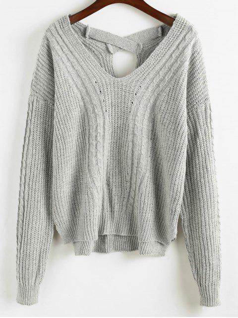 outfits Criss Cross Plain Cable Knit Sweater - GRAY ONE SIZE Mobile