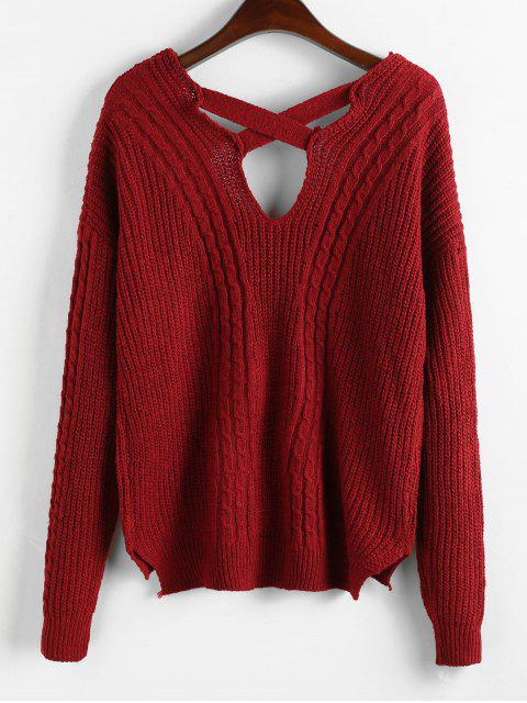 shop Criss Cross Plain Cable Knit Sweater - RED WINE ONE SIZE Mobile