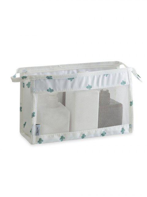 unique Cosmetic Zipper Mesh Toiletry Bag - WHITE  Mobile