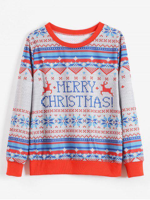 unique Merry Christmas Graphic Snowflake Sweatshirt - MULTI-A L Mobile