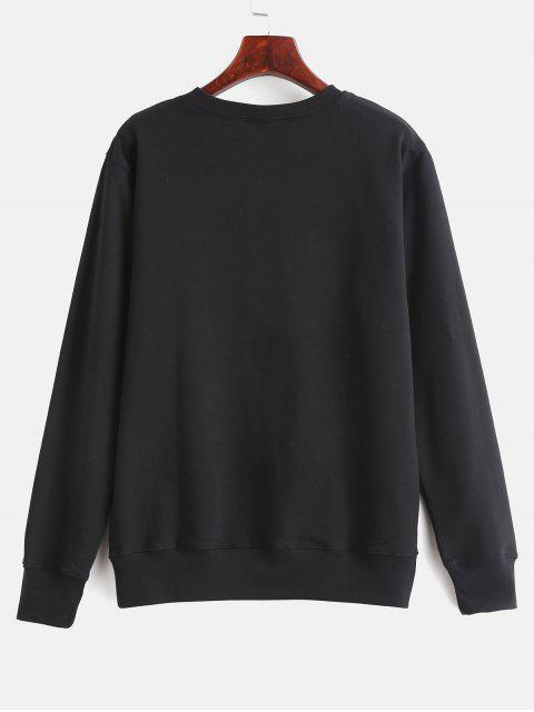 womens Contrasting Letter Print Graphic Pullover Sweatshirt - BLACK XL Mobile