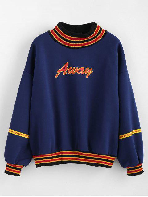 womens Contrasting Ribbing Fleece Sweatshirt - NAVY BLUE XL Mobile