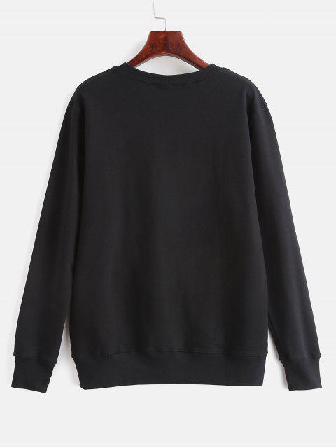 womens Contrasting Gesture Print Graphic Pullover Sweatshirt - BLACK L Mobile