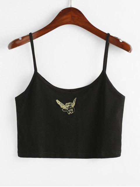 lady Angel Embroidered Patch Cami Top - BLACK ONE SIZE Mobile