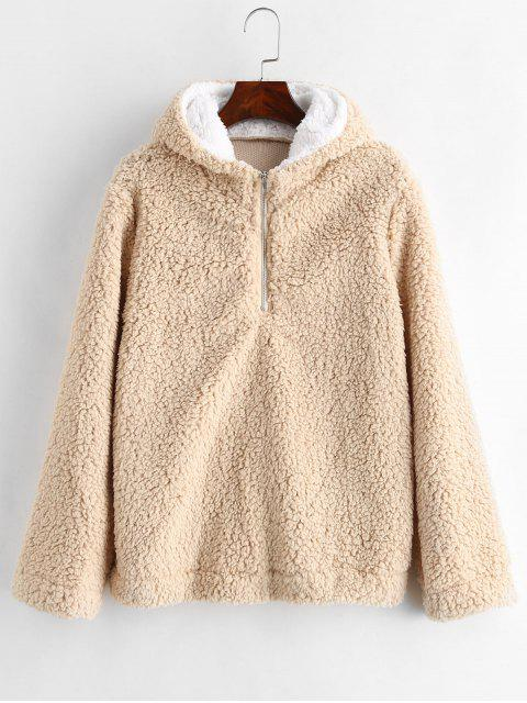 unique Faux Fur Zipped Fluffy Hoodie - CAMEL BROWN S Mobile