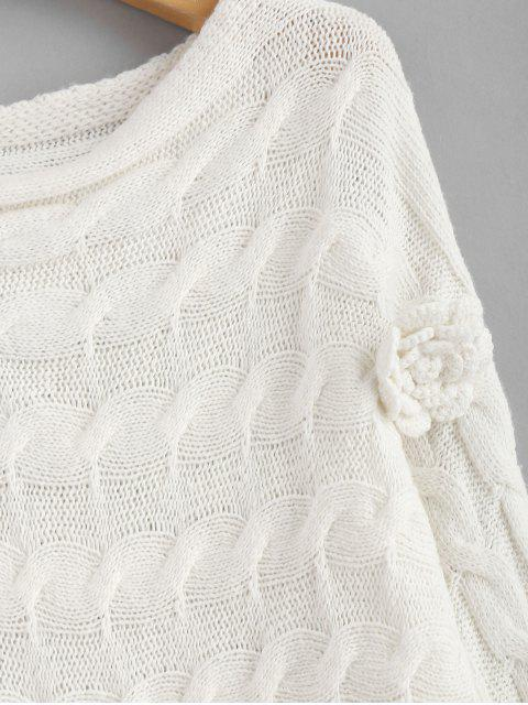 outfit Batwing Floral Applique Cable Knit Sweater - WHITE M Mobile