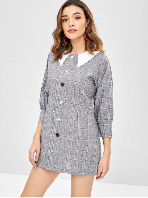 fashion Flat Collar Buttoned Plaid Dress - MULTI ONE SIZE Mobile