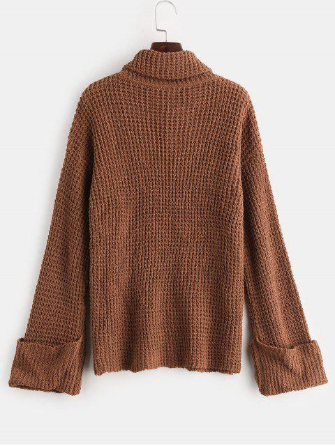 unique Cuffed Openwork Turtleneck Sweater - LIGHT BROWN L Mobile