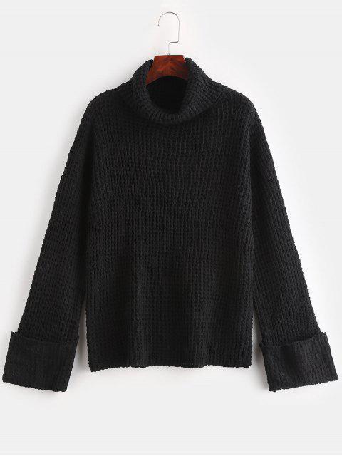 new Cuffed Openwork Turtleneck Sweater - BLACK M Mobile