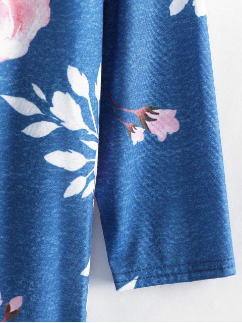 new Floral Open Tunic Cardigan - BLUE L Mobile