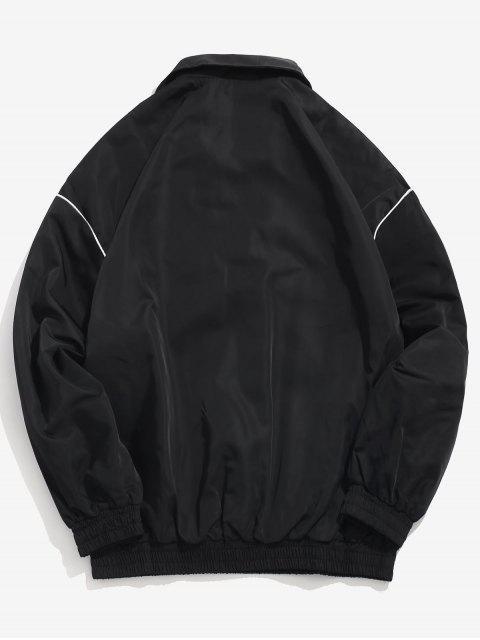 hot Embroidered Letter Pullover Windbreaker Jacket - BLACK XL Mobile
