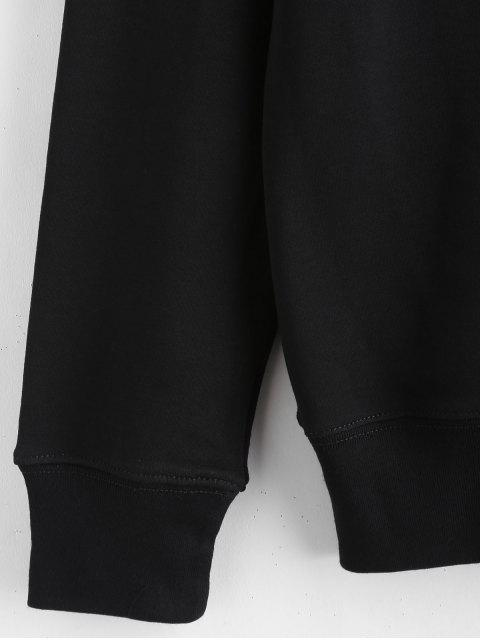 unique Contrast Lettering Graphic Pullover Sweatshirt - BLACK 2XL Mobile