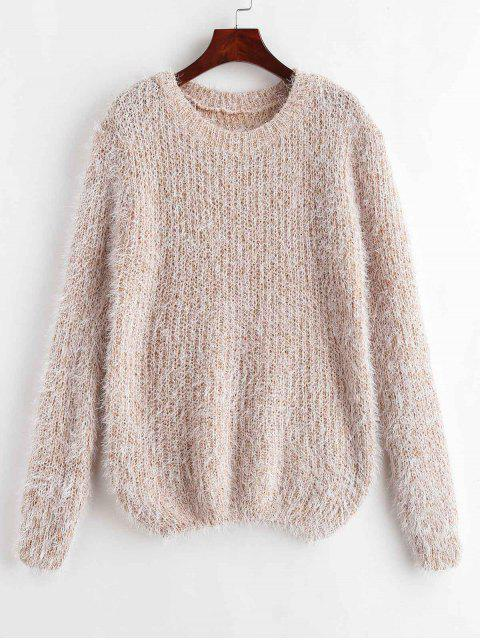 buy Crew Neck Fuzzy Jumper - APRICOT ONE SIZE Mobile