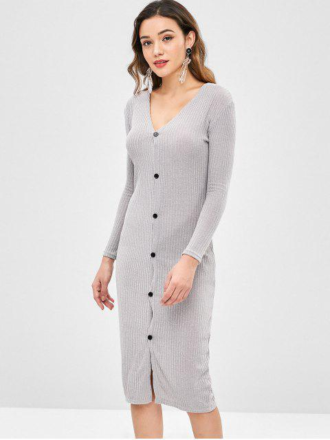 Solid Color Slim Cardigan Kleid - Graue Wolke S Mobile
