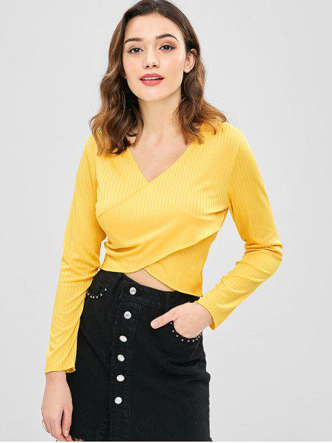 best Solid Color Wrap Crop Top - BRIGHT YELLOW M Mobile