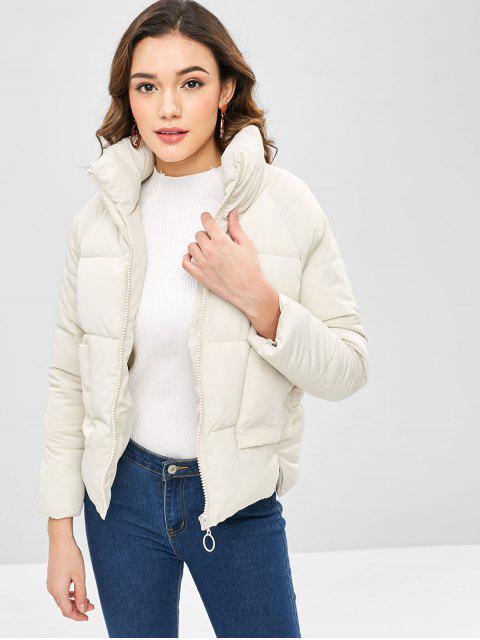 women's Raglan Sleeve High Low Hem Padded Coat - BEIGE 2XL Mobile