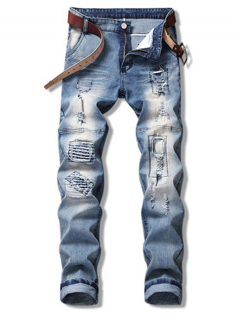 chic Ripped Hole Splicing Jeans - BLUE GRAY 38 Mobile