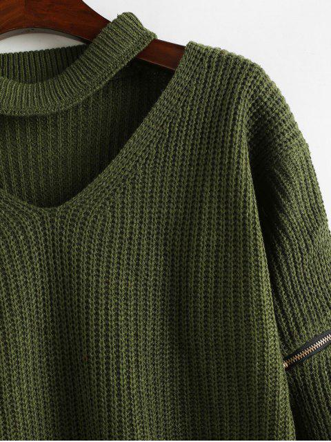 trendy Zipper Embellished Plain Keyhole Sweater - ARMY GREEN ONE SIZE Mobile