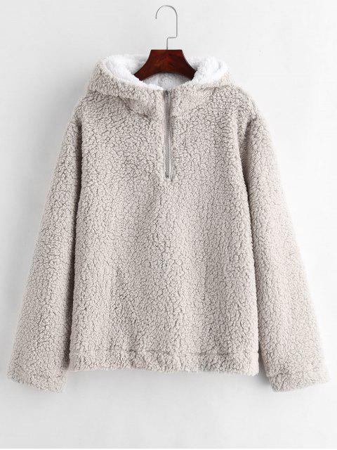 unique Faux Fur Zipped Fluffy Hoodie - GRAY GOOSE S Mobile