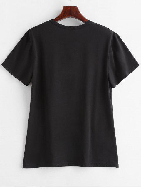 sale Text Print Graphic Jersey T-Shirt - BLACK M Mobile