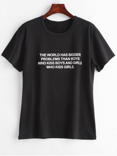 unique Text Print Graphic Jersey T-Shirt - BLACK L Mobile