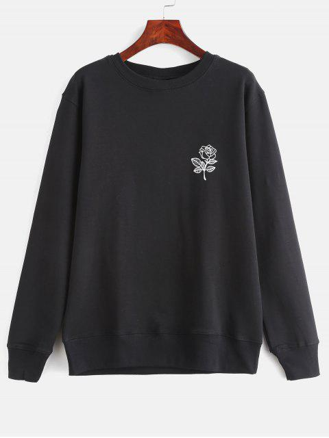 Blumendruck Grafik Pullover Sweatshirt - Schwarz S Mobile