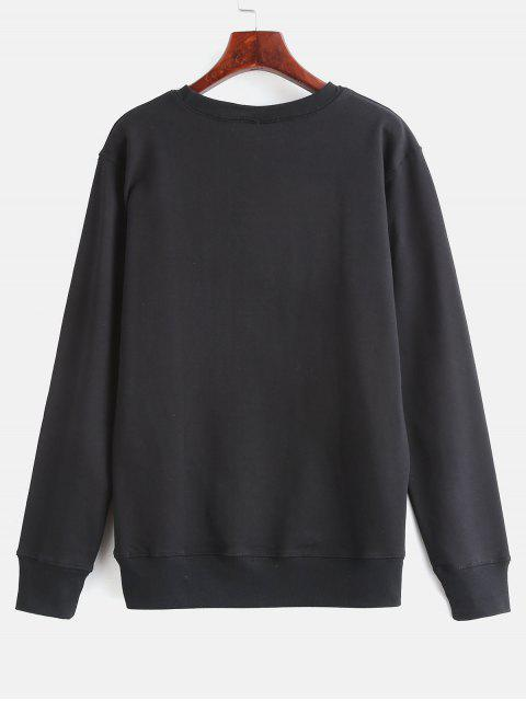 online Floral Print Graphic Pullover Sweatshirt - BLACK 2XL Mobile
