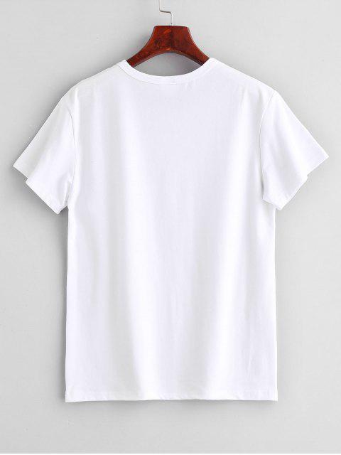 buy Wink Eye Print Graphic Short Sleeve T-Shirt - WHITE L Mobile
