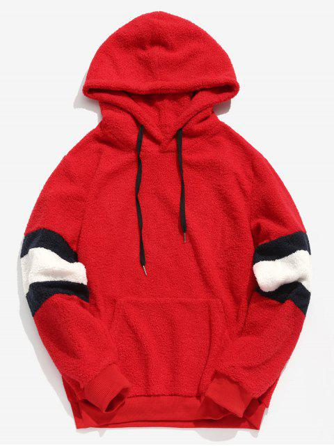 sale ZAFUL Contrast Stripe Pullover Fluffy Hoodie - ROSSO RED L Mobile