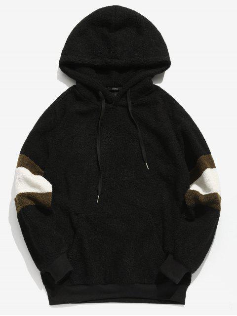 women's ZAFUL Contrast Stripe Pullover Fluffy Hoodie - BLACK L Mobile