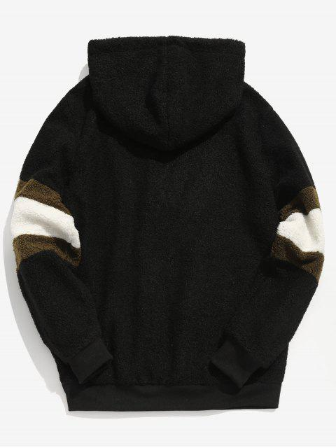 ladies ZAFUL Contrast Stripe Pullover Fluffy Hoodie - BLACK XL Mobile