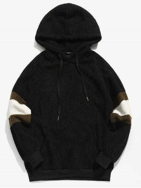 lady ZAFUL Contrast Stripe Pullover Fluffy Hoodie - BLACK 2XL Mobile