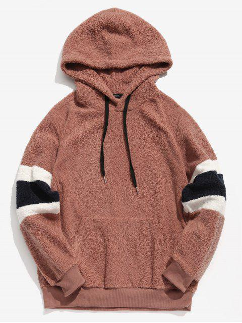 outfit ZAFUL Contrast Stripe Pullover Fluffy Hoodie - KHAKI ROSE 2XL Mobile