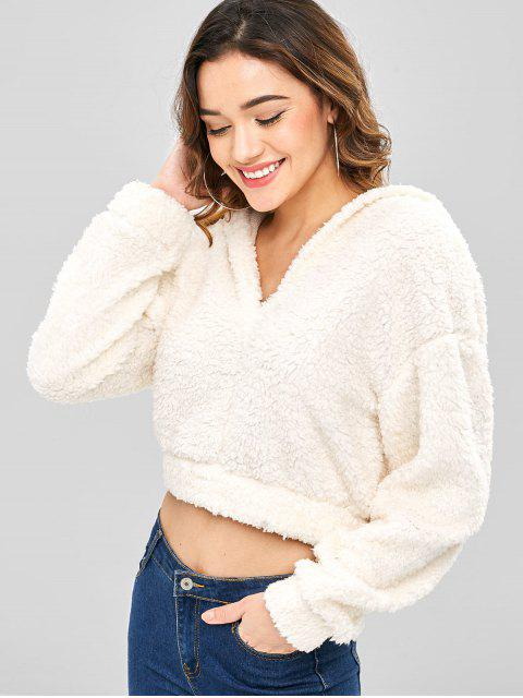 women ZAFUL Plain Fluffy Faux Shearling Teddy Hoodie - WARM WHITE L Mobile