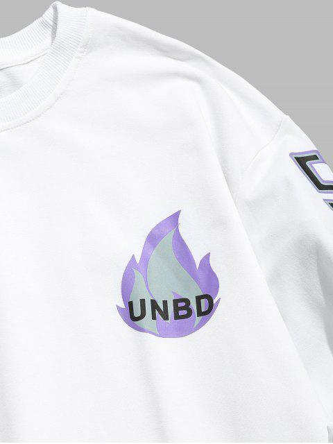 shops Flame Letter Print T-shirt - WHITE XL Mobile