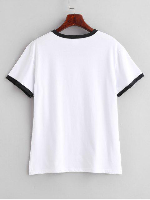 unique Graphic Short Sleeve Jersey Ringer T-Shirt - WHITE XL Mobile